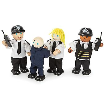 Tidlo Wooden Police Officers and Prisoner Figures Play Set