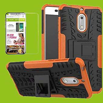 For Nokia 3.1 5.2 inch 2018 hybrid case 2 piece Orange + tempered glass bag case cover sleeve new
