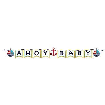 Pequeño marinero decoración de cumpleaños de parte de Garland Ahoy bebé 170 cm marinero
