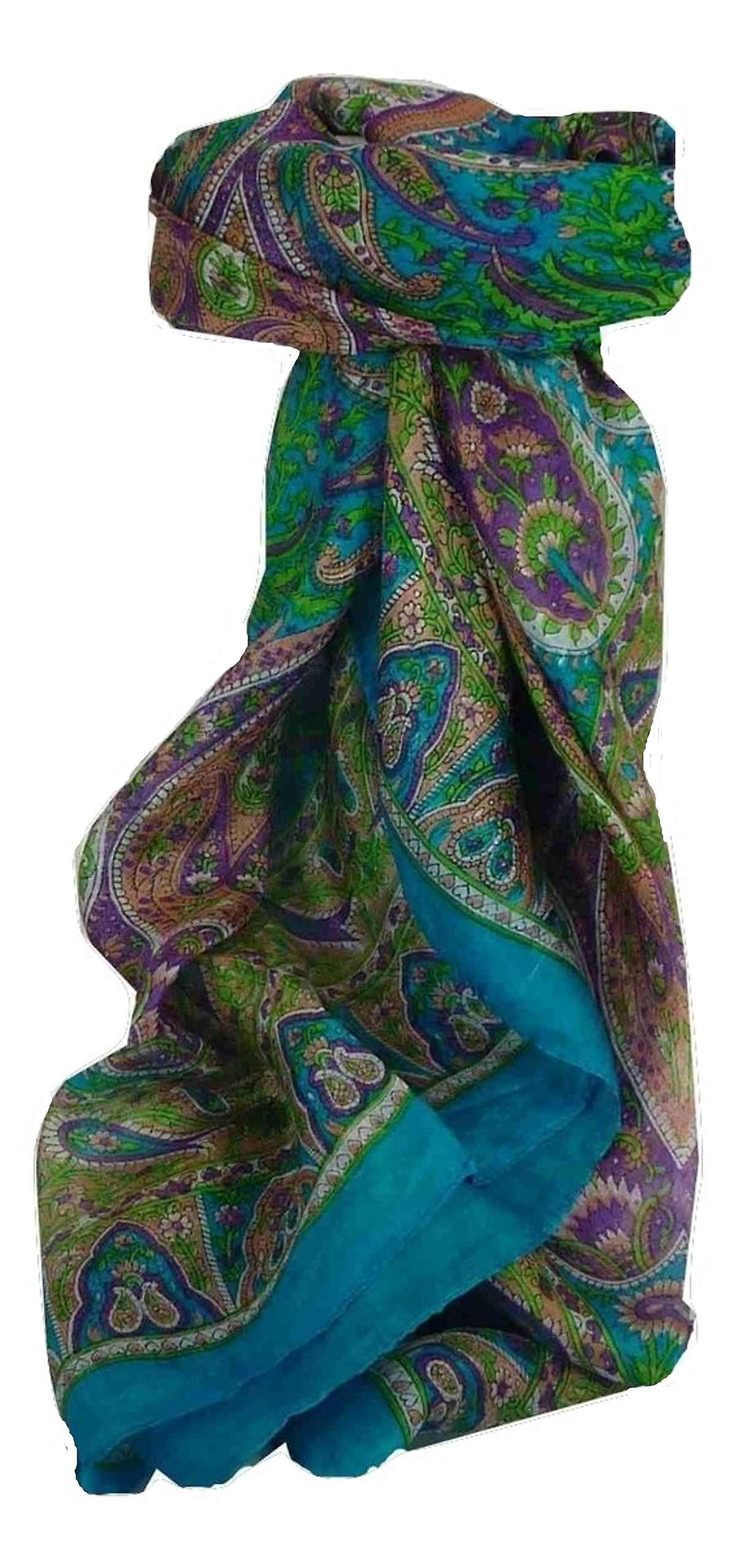 Mulberry Silk Traditional Square Scarf Guyan Light Blue by Pashmina & Silk