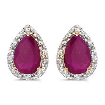 LXR 10k Yellow Gold Pear Ruby and Diamond Earrings 1ct