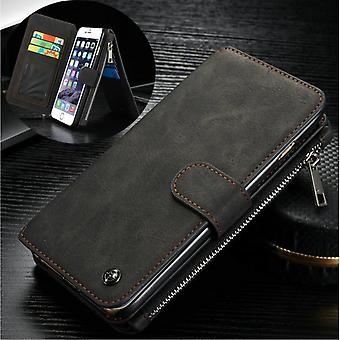 CASEME iPhone 6/6s Plus Retro leather wallet Case-Black