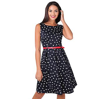 KRISP Femei Vintage Pin Up flared Butterfly Midi Ceai Dress Red Belted Skater de vară