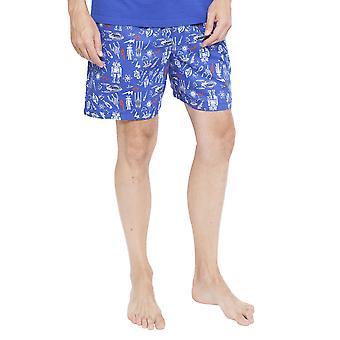 Cyberjammies 6351 mannen Oscar blauw ruimte en Robot Print Pyjama korte
