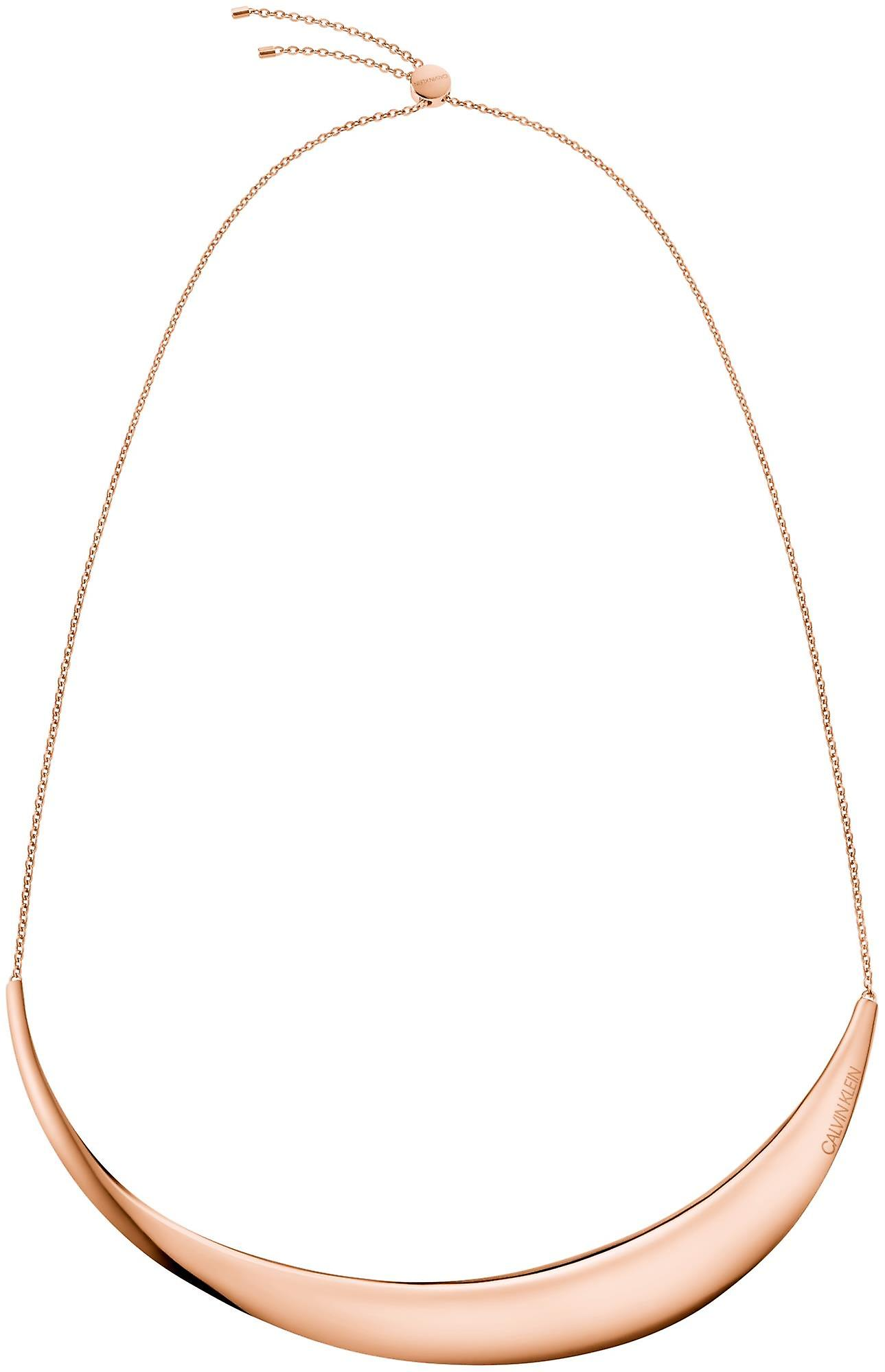 Calvin Klein Groovy Rose Gold Stainless Steel Ladies Choker Necklace KJ8QPJ100100