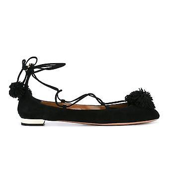 Aquazzura Snhflaa0sue000 Women's Black Suede Flats