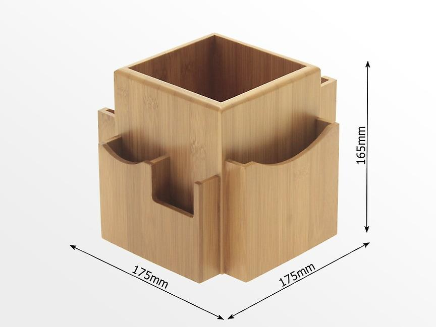 Woodquail Bamboo Revolving Desk Organiser, Space Saving Stationery Box, Desk Tidy