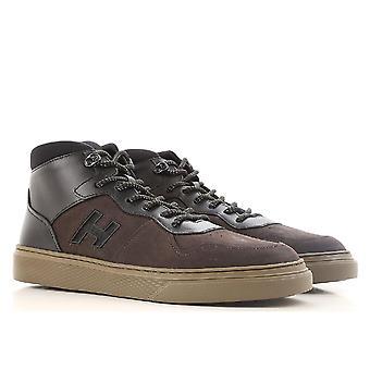 Hogan H365 man's high top sneakers in dark brown nabuck leather