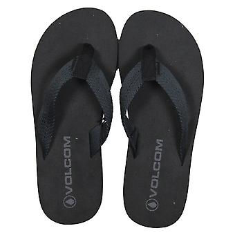 Volcom Daycation Textile Flip Flops in Blackout