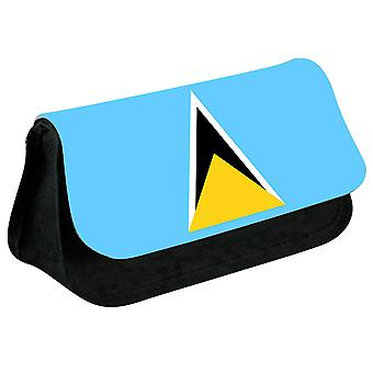 Saint Lucia Flag Printed Design Pencil Case for Stationary/Cosmetic - 0147 (Black) by i-Tronixs