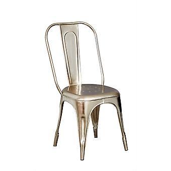 Maison Industrial Metal & Wood Metal Silver Chair - A Pair