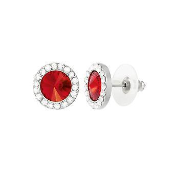 Eternal Collection Elfin Scarlet Red Austrian Crystal Silver Tone Stud Pierced Earrings