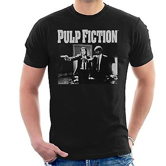 Pulp Fiction Vince And Jules Pointing Weapons Black And White Men's T-Shirt