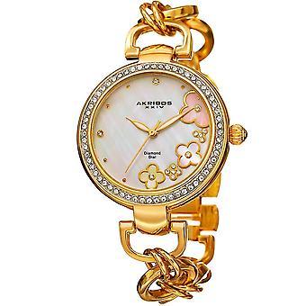 Akribos XXIV Women es Genuine Diamond Floral Dial Twist Chain Bracelet Watch AK874YG