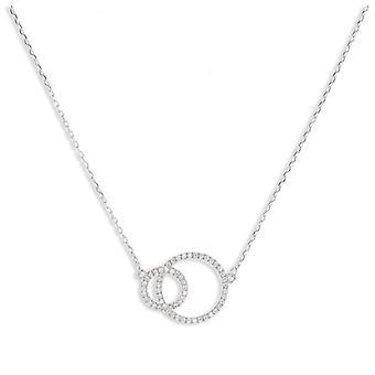 Rhodié Silver Double Circle Necklace With 45cm Zirconia Cubic