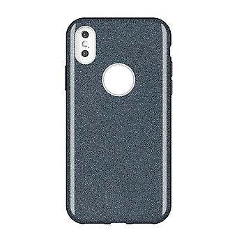 Glitter shell in rubber, iPhone Xs, Black