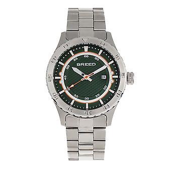 Breed Mechanic Bracelet Watch w/Date - Green