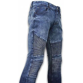 Ripped Jeans - Slim Fit Biker Jeans - Lined Knee Pads - Blauw