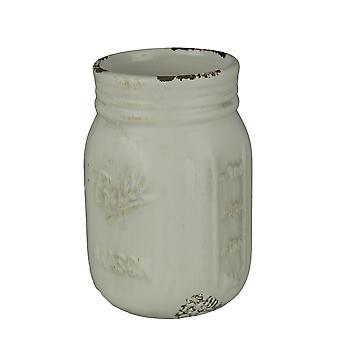 Distressed Finish Milky White Ceramic Mason Jar Planter