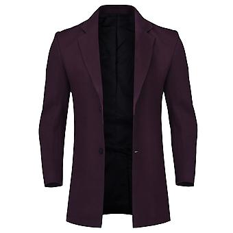 Allthemen miesten ' s Slim Fit yksirivinen puoli välissä pitkä Villa sekoitus päällys takki