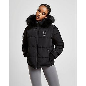 Nieuwe roze soda sport vrouwen ' s bont capuchon gewatteerde jas zwart