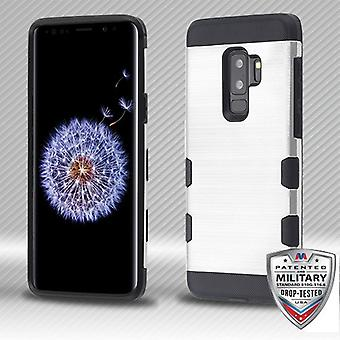 MYBAT Silver/Black Brushed TUFF Trooper Hybrid Protector Cover for Galaxy S9 Plus