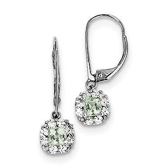 925 Sterling Silver Bungelen gepolijst Leverback Rhodium verguld green quartz diamond oorbellen sieraden geschenken voor vrouwen