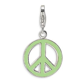 925 Sterling Silver Rhodium plated Fancy Lobster Closure Green Enameled Peace Symbol With Lobster Clasp Charm Pendant Ne