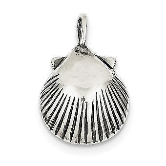 925 Sterling Sølv Solid Polert Åpen rygg finish Sea Shell Anheng Halskjede smykker Gaver til kvinner