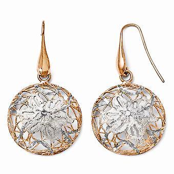 925 sterling silver Dangle polerad och Rose Gold-blixtrade Shepherd Hook örhängen-5,6 gram
