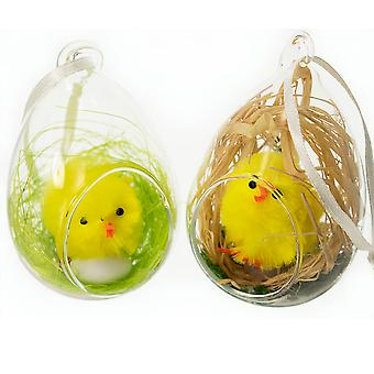 Poussin rempli ouverte avec porte verre boule décoration pour les arbres de Pâques