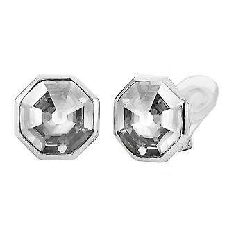 Traveller clip earring - Hexagon - rhodium palted - 156964