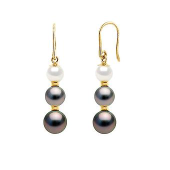 Earrings of Women Hanging Pearls of Culture and Tahiti and Yellow Gold 750/1000 8275