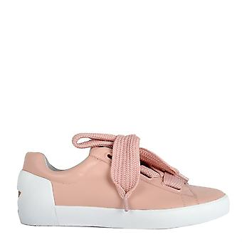 Ash NINA Trainers Nude Leather & Chunky Knit Lace