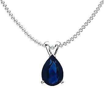 Dazzlingrock Collection 14K 8x6 mm Pear Cut Blue Sapphire Ladies Solitaire Pendant (Silver Chain Included), White Gold