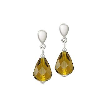 Eternal Collection Sophistication Olive Green Crystal Silver Tone Drop Screw Back Clip On Earrings