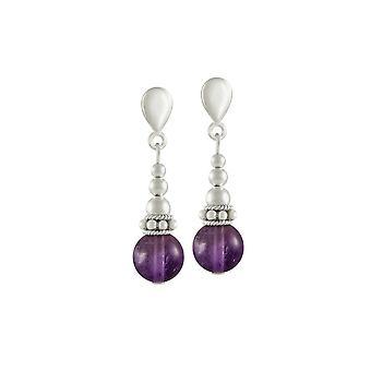 Eeuwige collectie Bella Amethyst zilveren Toon drop schroef terug clip op oorbellen