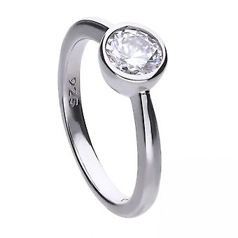 Diamonfire Silver White Zirconia Solitaire Ring R3647