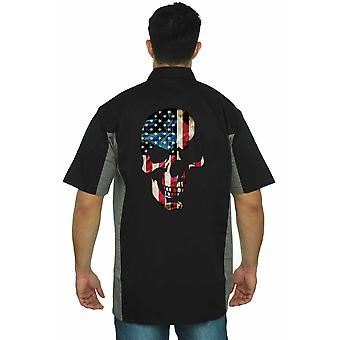Men's Mechanic Work Shirt USA Flag Skull Americana