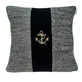 Cubierta de almohada de algodón gris con inserción de polietileno