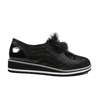 Caprice 24302 Black Combination Leather Womens Slip On Shoes