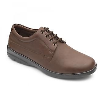 Padders Lunar Mens Leather Wide (g/h) Shoes Dark Tan