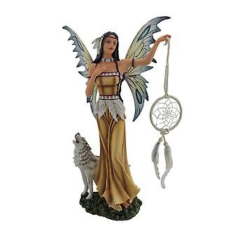 Una e Tala il Native American Dream Fairy e bianco statua del lupo