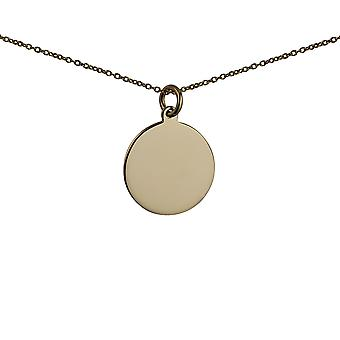 9ct Gold 20mm round plain Disc Pendant with a 1.1mm wide cable Chain 20 inches