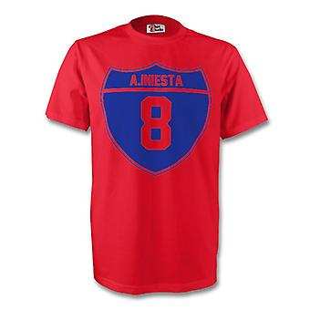 Andres Iniesta Barcellona Crest Tee (rosso) - bambini
