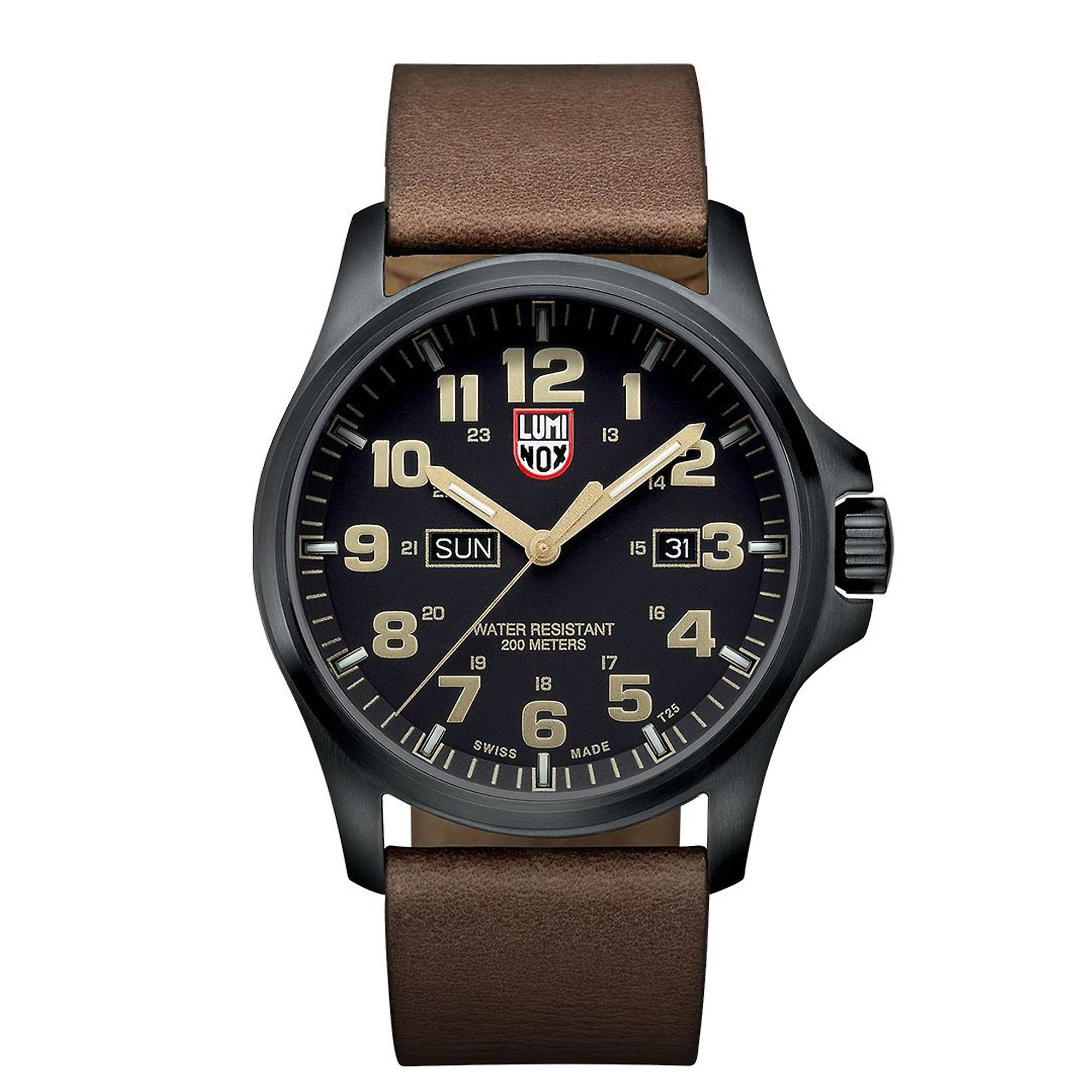 Luminox Atacama Field Day Date 1929 Black Brown Leather Strap Mens Watch XL.1929 45mm