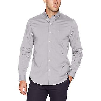 Dockers Men's Long Sleeve Button Front Comfort Flex Shirt, Foil, Large
