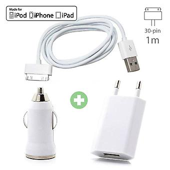 Stuff Certified® 3 in 1 Charger iPhone 30-pin charging cable + Socket Charger + Car Charger