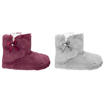 Slumberzzz Womens/Ladies Bow Lined Boot Slippers