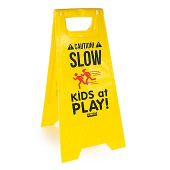 Slow Children Playing High-Visibility Floor Stand